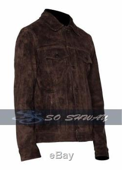 Rubber Soul Brown Beatles John Lennon Brown Vintage Suede Leather Jacket