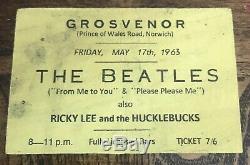 Signed Paul McCartney, John Lennon Beatles Original 1963 Ticket, Free S&I with BIN