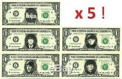 The BEATLES LOT de 5 VRAIS BILLETS DOLLARS US! John LENNON & Paul McCARTNEY