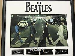 The Beatles Abbey Road Framed Poster With Autigraph Facsimiles John Lennon