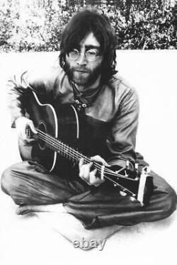 The Beatles John Lennon Playing Guitar Black & White Poster 24 x 36