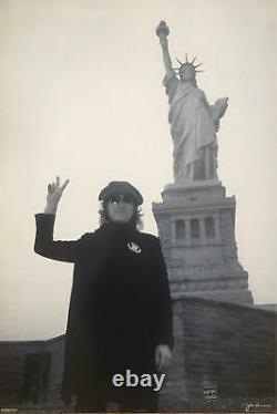 The Beatles John Lennon Statue Of Liberty Out Of Print Black & White Poster 24 x