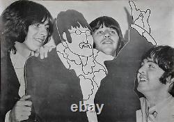 The Beatles Vintage Rare Original Photo Poster W A Cartoon Cutout of John Lennon