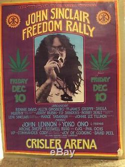 VINTAGE rock concert poster Original John LENNON/Yoko/Ann Arbor Mi 1971