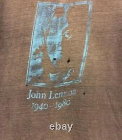 VTG 80s JOHN LENNON The Beatles Gray T-Shirt Paper Thin Memorial Small/Medium