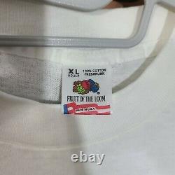 VTG The Beatles Band T-Shirt sz XL White 90s Conference Calendar John Lennon