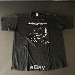 Vintage John Lennon T-shirt 80's 90s Bag One The Beatles Yoko Ono Rare VTG RARE