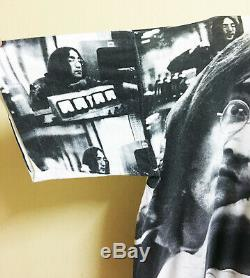Vintage John Lennon The Beatles Allover Print T-shirt Rock Tour Concert Promo