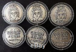 WHOLESALE 6 JOHN LENNON SILVER MEDALS COINS NUMBERED LTD EDITION & CoAs
